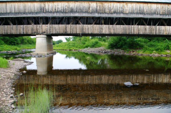 Covered Bridge Reflecting in the water